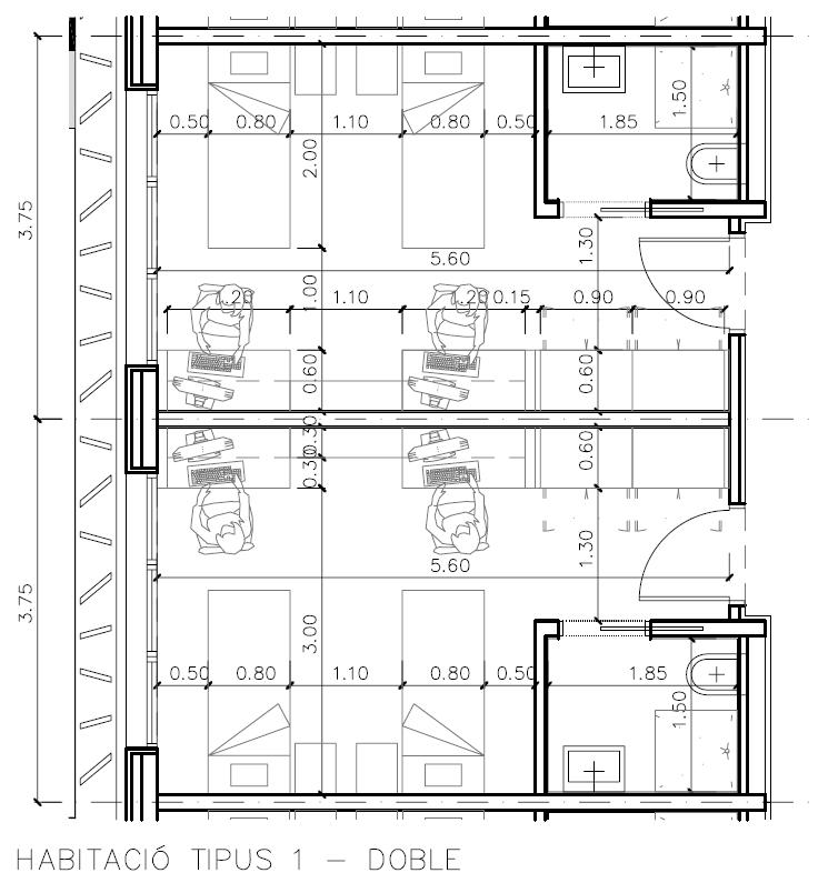 Pin residencia para estudiantes dwg dibujo de autocad on for Residencia para estudiantes